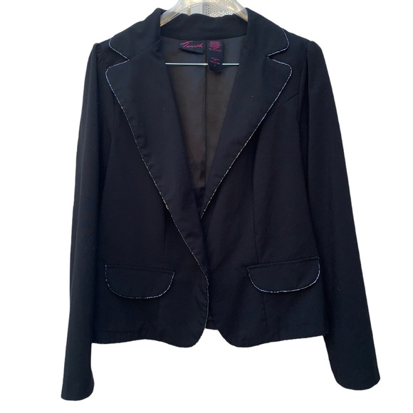 Torrid 2X Black Sequins Trim One Button Jacket.